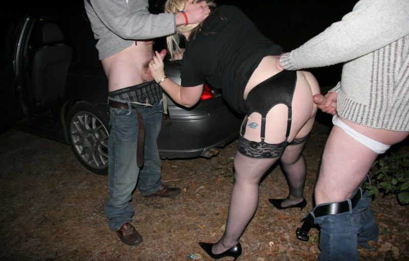 Most famous dogging Milf Rachel spit roasted at a meet